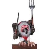Гриф стервятник с ножом и вилкой