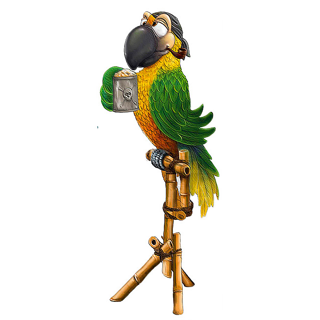 Попугай пират с кружкой